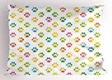 Ambesonne Dog Lover Pillow Sham, Animal Footprint Colorful Abstract Puppy Paws Grunge Elements Paintbrush Effect, Decorative Standard Size Printed Pillowcase, 26 X 20 inches, Multicolor