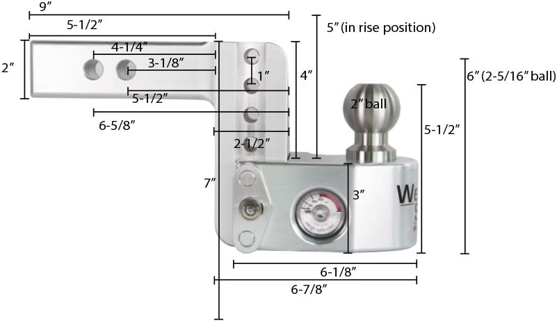Weigh Safe WS10-2 and a Double-pin Key Lock Adjustable Aluminum Trailer Hitch /& Ball Mount w// Built-in Scale 2 Stainless Steel Balls 10 Drop Hitch w// 2 Shank//Shaft 2 /& 2-5//16