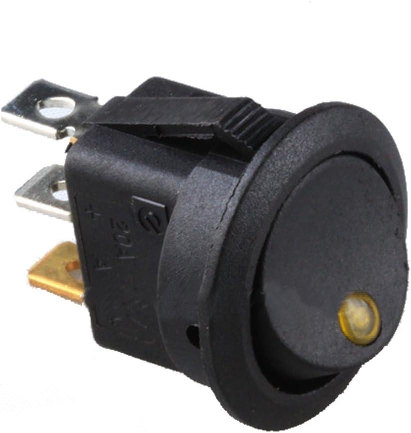 Mintice/™ 10 X 12V 16A Gelb LED Licht Auto KFZ Runder Punkt Schalter Wippschalter Kippenschalter Druckschalter Drucktaster EIN//AUS