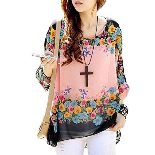 HP95(TM) Women's Bohemian Style Batwing Sleeve Chiffon Beach Loose Shirt (C) from HP95(TM)
