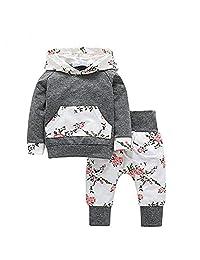 Sweetbaby Little Baby Girls Outfits Hoodie Tops Pants Kangaroo Pocket