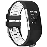 Moretek Classic Fitness Silicone Wristband Smart Watch Replacement Compass Bands for Fitbit Charge 2 Tracker (BlackWhite)
