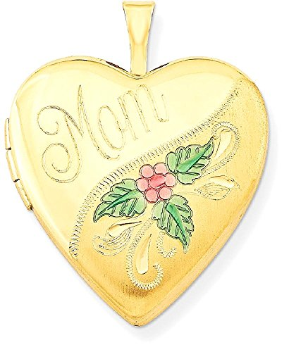 ICE CARATS 1/20 Gold Filled 20mm Enameled Mom Heart Photo Pendant Charm Locket Chain Necklace That Holds Pictures W/chain by ICE CARATS