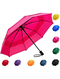 Automatic Windproof Vented Sun&Rain Travel Umbrella With Double Canopy - Collapsible Compact Lightweight Umbrella