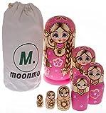 Moonmo 7pcs Cute Pink Sweater Braid Girl Russian Nesting Dolls Matryoshka toys