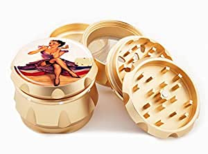 "Pin Up Girl Design Premium Grade Aluminum Tobacco,Herb Grinder -4Pcs Large (2.5"" Gold) # GLD-100314-087"