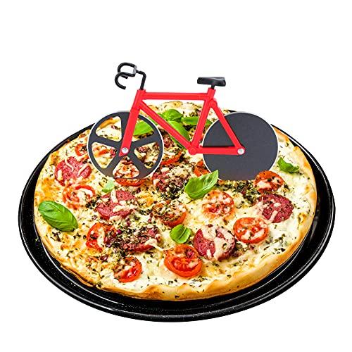 ShawFly Fiets Pizza Cutter RVS Roller Pizza Cutter, met Scherp Blade, Creatieve Keuken Gereedschap (rood)