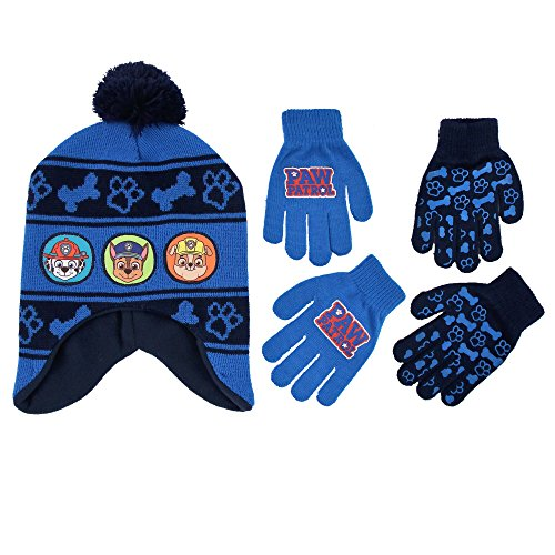 Nickelodeon Little Boys Paw Patrol Character Hat and 2 Pairs of Mittens or Gloves Cold Weather Set, Age 2-7 (Blue Design - Age 4-7 - Gloves Set) (Boys Hats And Gloves)