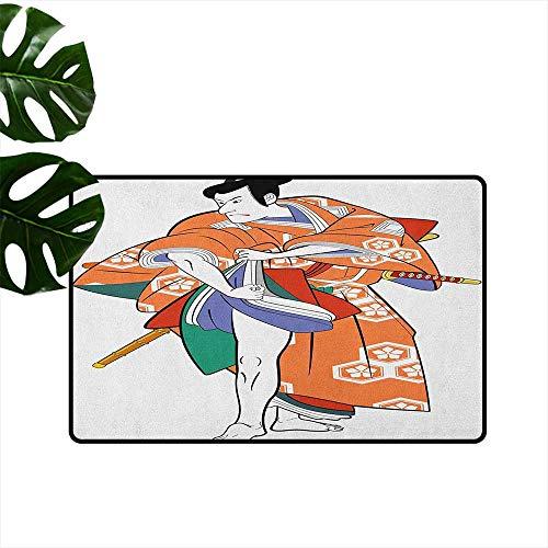 RenteriaDecor Kabuki Mask,American Floor mats Kabuki Actor with Traditional Costume Historical Edo Era Drama Japan Culture 24
