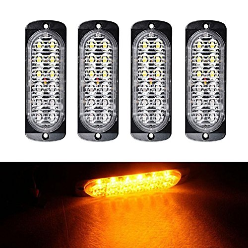 XT AUTO Super Bright Amber 12-LED Car Truck Warning Caution Emergency Construction Waterproof Beacon Flash Caution Strobe Light Bar 4-pack