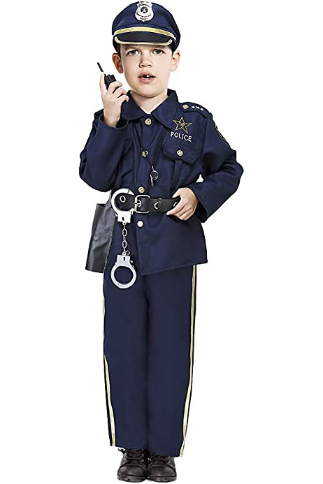 Dress Up America Ensemble de déguisement de police de luxe pour enfants 201-T...