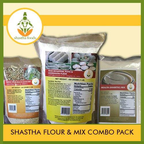 SHASTHA FLOUR AND MIX COMBO PACK (CONTAINS 6 ITEMS) SHASTHA(HORSE GRAM MIX, HEALTH MIX & KOZHUKATTAI FLOUR)