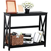 Yaheetech 2 Tier X-Design Occasional Console Sofa Side Table Bookshelf Entryway Accent Tables w/Storage Shelf Living Room Entry Hall Table Furniture (Black)