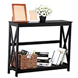 Long Narrow Wood Coffee Table Yaheetech 2 Tier X-Design Occasional Console Sofa Side Table Bookshelf Entryway Accent Tables w/Storage Shelf Living Room Entry Hall Table Furniture (Black)