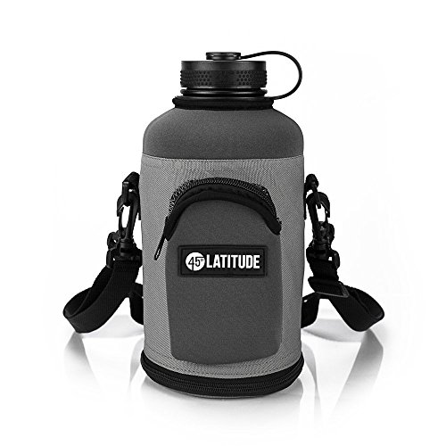 AVEX Growler Flask with protective neoprene Tote Carrier by 45 Degrees Latitude. Double Wall Vacuum Insulated Stainless Steel Beer Growler, 64 oz, Black
