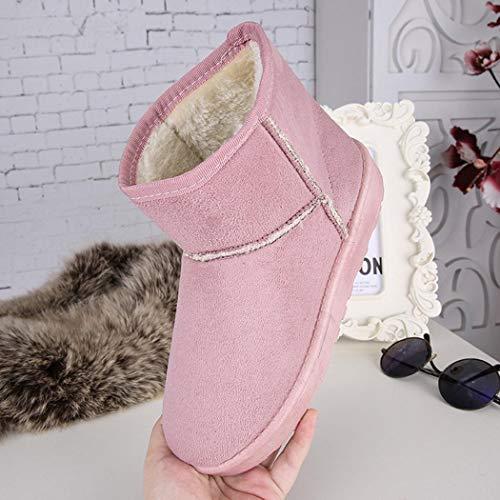Hiver De Pour mollet Basse Plates Keptei Femmes taille Mi Rose Fourreés Bottine Bottes Polaire Neige Chaude Chaussures wq1xxRH4t