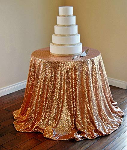 RubyShopUU ShinyBeauty 132-Inch-330cm Sequin Tablecloth Pink Gold Sequin Round Table Cloth for Wedding Party-R -