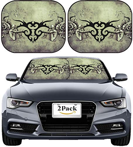 (MSD Car Sun Shade Windshield Sunshade Universal Fit 2 Pack, Block Sun Glare, UV and Heat, Protect Car Interior, Image ID: 25613524 Tattoo Art Design Tribal with Two Nymphs Over Vintage Paper)