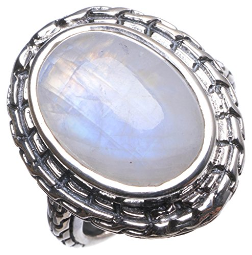 Natural Rainbow Moonstone Handmade Indian 925 Sterling Silver Ring, US Size 8.75 T6242