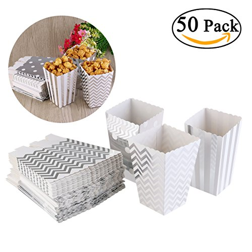 Scalloped Favor Boxes (NUOLUX 50pcs Popcorn Boxes Yellow Design Trio Miniature Scalloped Edge Cardboard Party Candy Container Treat Cartons (Silver))