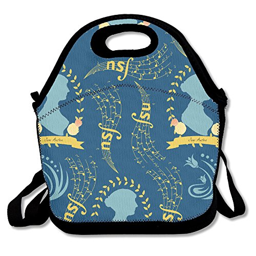 Jane Austen Lunch Tote Insulated Reusable Picnic Lunch Ba...