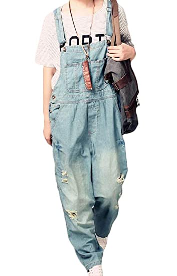 SELX Women Fall Distressed Ripped Denim Overalls Long Jeans Rompers