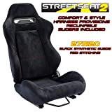 Performance World 275120 StreetSeat2 Racing Black Synthetic Suede with w/Red Stitching Seats. Pair