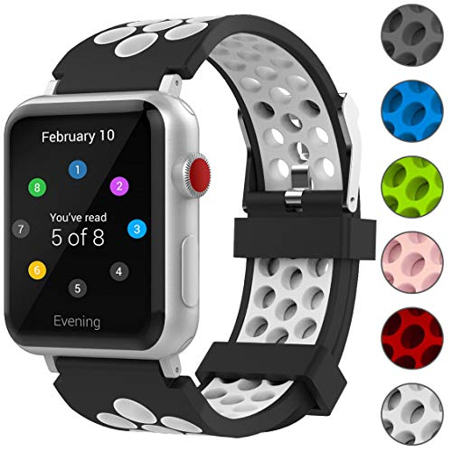For Apple Watch Band 38mm, Penta Stars Silicone Band for Apple Watch Series 4/3/2/1, Two Tone Holes Design, Breathable, Waterproof Sport Replacement Wristband for iWatch, White