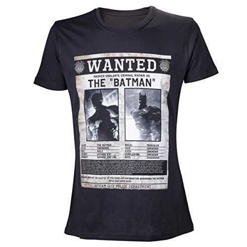 Batman Herren T-shirt, Wanted, Schwarz