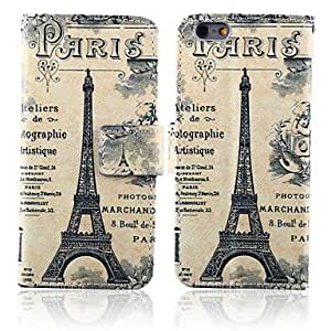 DUR Letters and Paris Tower Pattern PU Leather Full Body Cover with Stand for iPhone 6
