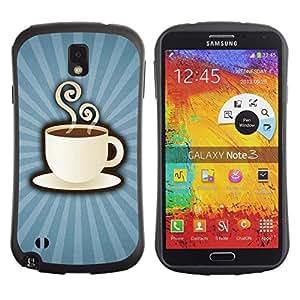 "Pulsar iFace Series Tpu silicona Carcasa Funda Case para Samsung Note 3 , Taza de café humeante taza de la bebida cafeína Arte"""