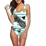 d644eb20e7fe0 ShowRoom16 Pineapple Swimwear Womens Monokini Swimsuits Sexy Low Back Print One  Piece Bathing Suits XXS-