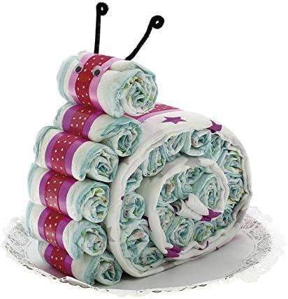 Exclusivo DRIM Tarta de pañales con Forma de Caracol con Muselina Rosa