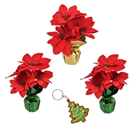 Potted Poinsettia (Artificial Poinsettia Bushes in Foil Pot Set of 3 Great Christmas Decorations Centerpieces Table Top Flowers Bonus Christmas Key Chain)