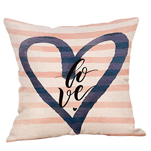 VECDUO Clearance Sale! Love Heart Letters Print Sweet Valentine's Day Colorful Pillow Case, 18x18 -