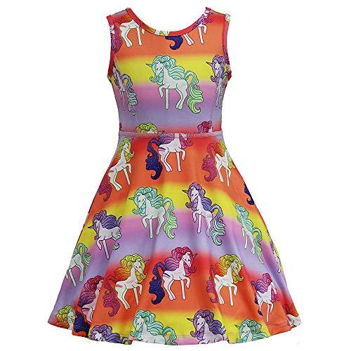 JESKIDS Rainbow Unicorn Dress Girls Dresses Complete Unicorn Pattern Sleeveless Summer Dress, for Girls 4T, 5T (8-9Y/ Height: 53