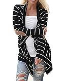 Women's Casual Long Sleeve Open Front Draped Stripe Kimono Cardigan Sweater Irregular Hem Top Blouse
