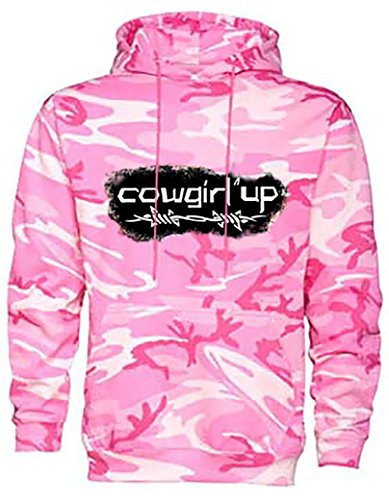 Cowgirl Up Pink Camouflage Hoodie By Southern Designs Sweatshirts For Cowgirls and Country Grils (Large)