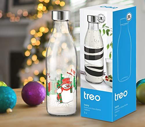 Treo by Milton Ivory Premium Glass Printed Bottle 1000 ml, 1 Pc, Snowman Price & Reviews