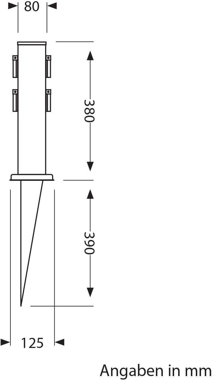 38cm Quatre Prises Acier Inoxydable Angulaire ledscom.de Colonne de Prise Polly Noir pour lext/érieur