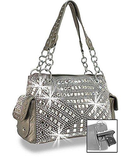 Zzfab Gem Studded Rhinestone Concealed and Carry Purse Pewter