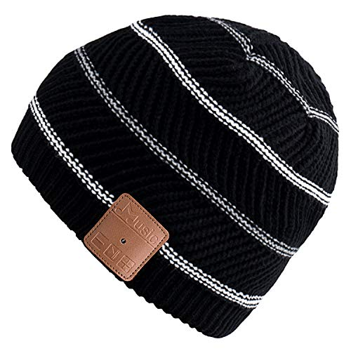 Mydeal Winter Washable Bluetooth Music Beanie Warm Soft Knitted Trendy Short Striped Hat Cap w/Wireless Headphone Headset Earphone Mic Hands Free for Excrise Gym Sports Fitness Running Skiing - Black