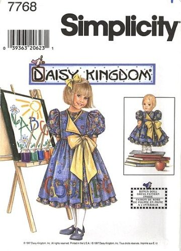 - Simplicity Daisy Kingdom Pattern 7768 Girls' Dress and Pinafore, Dress for 17-Inch Doll, BB (5-6-7-8)