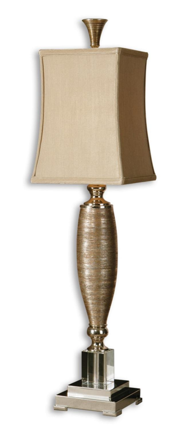 37'' Metallic Gold Porcelain, Crystal & Champagne Square Bell Shade Buffet Lamp