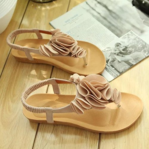 Jamicy Women Ladies Fashion Flower Summer Bohemia Sweet Clip Toe Sandals Beach Shoes Beige w0mEG