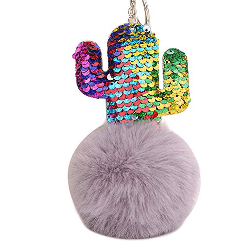 (Slendima Chic Sequins Cactus Fluffy Ball Keyring Fashion Car Key Chain Women Handbag Pendant Gift Light Gray)