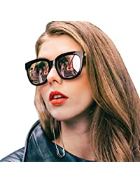 Mirrored Sunglasses for Women/Men, Stylish Oversized Frame with UV400 Protection, Polarized Eyewear for Outdoor