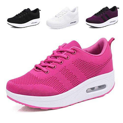 Scarpe Tennis Passeggio Stringate Casual Hishoes Outdoor Rosa Donna da Sportive Running Sneakers Piattaforma Scarpe Ginnastica Fitness Zeppa RZHRBFq6