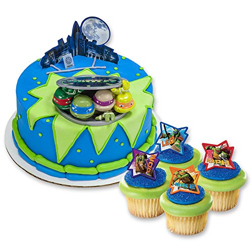 DecoPac Teenage Mutant Ninja Turtles DecoSet Cake Topper & 24 Cupcake Rings Set