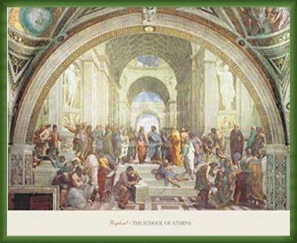 ポスター ラファエロ サンティ アテネの学堂 額装品 ウッドベーシックフレーム(グリーン) B0031IZE72 グリーン グリーン